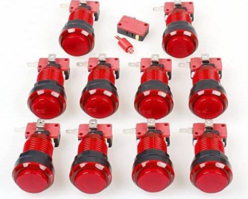 EG STARTS 10x Nouveau Arcade Boutons 30mm LED Pleine Couleur Bouton Poussoir avec Micro Commutateur pour Arcade Machine Mame Jamma PC Jeux Multicade pièces (Rouge)