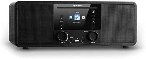 AUNA IR-190WD Radio Internet - Radio numérique, Radio WLAN, Lecteur réseau, Bluetooth, Port USB MP3, AUX, minuterie, Affichage Couleur 2,8 Pouces TFT, intensité Variable, Noir