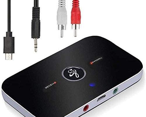 Adaptateur Bluetooth Récepteur,Ozvavzk Bluetooth Émetteur Récepteur 5.0 Transmetteur Récepteur Bluetooth Audio 2 en 1 avec Sortie Audio 3,5mm Adaptateur Bluetooth Audio RCA