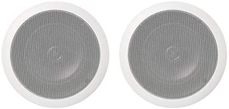 AmazonBasics Paire d'enceintes rondes 16,5cm encastrables dans le mur ou le plafond