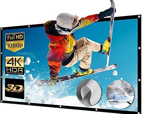 Écran de Projection 200 Pouces Écran de Projecteur en Toile Full HD 3D 4K 16 9 Portale pour Vidéoprojecteurs Home Cinema/Plein Air, 26 Œillets Métalliques (443x249cm)