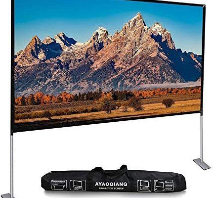Écran de Projection avec Support Pliable, 120 Pouces 4K HD 16:9 Écran de Videoprojecteur, Anti-Plis Projection Double Face pour Cinéma Maison/en Plein Air.