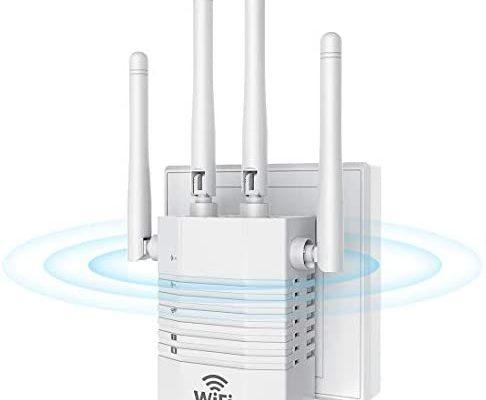 Getue Répéteur WiFi Amplificateur WiFi sans Fil Puissant, 1200Mbps WiFi Extender Dual Band 5GHz 2.4GHz, Points d'Accès/Routeur/Répéteur Mode,Compatible avec Tous Les Routeurs - Blanc