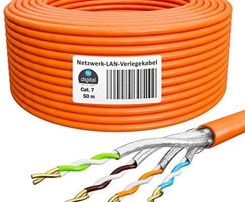 HB-Digital 50m Cat. 7 LAN réseau Câble d'installation cat 7 Câble Copper Profi S/FTP PIMF LSZH jaune sans halogène conforme RoHS Internet Cat7 Ethernet AWG 23/1 Couleur orange