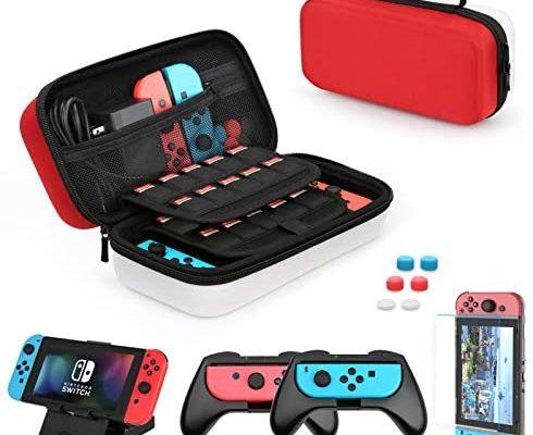 HEYSTOP Étui pour Nintendo Switch, 11 en 1 Étui de Transport pour Nintendo Switch, 2 Grip pour Joy-Con Nintendo Switch, Support de Jeu Ajustable, Protection écran Switch et 6 Thumb Grips, Rouge/Blanc