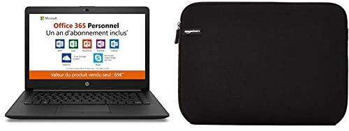 """HP - 14-cm0998nf - PC Portable - 14'' HD SVA - Noir (AMD A4-9125, RAM 4 Go, eMMC 32 Go) + AZERTY + Office 365 Personnel 1 an & AmazonBasics Housse pour Ordinateur Portable 35,6 cm (14"""")"""