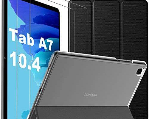 IVSO Coque Samsung Galaxy Tab A7 + Verre Trempé pour Samsung Galaxy Tab A7 (2 pièces), Protection écran pour Samsung Galaxy Tab A7, Coque Samsung Tab A7 10.4, Protection Samsung Tab A7