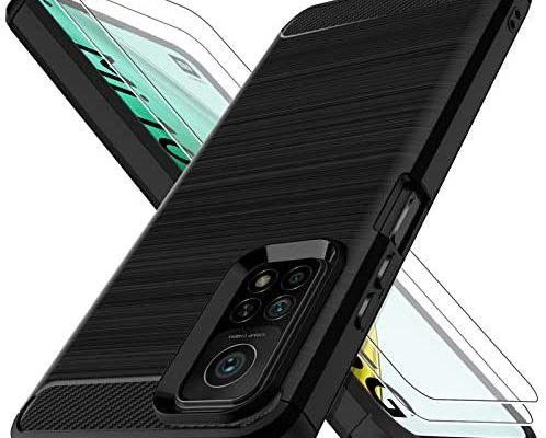 LK Coque Compatible avec Xiaomi Mi 10T/10T Pro 5G -2 × Verre Trempé Protection écran, Protection Complète Flexible en TPU Brossé Housse Bumper Case- Noir Slim Fit