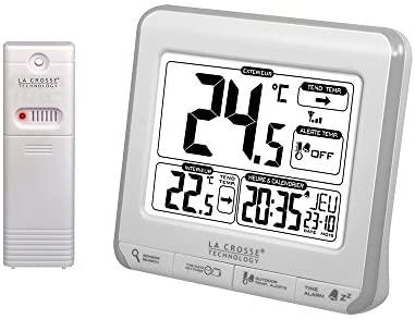 La Crosse Technology WS6811WHI-SIL Station de températures avec alertes - Blanc et Argent