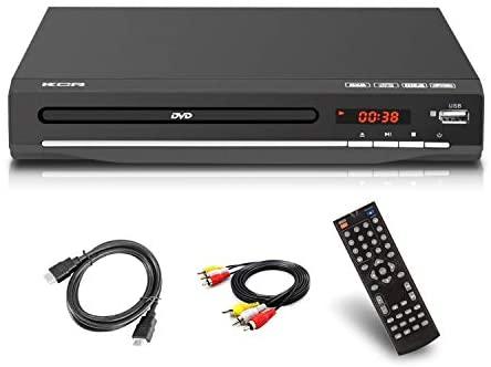 Lecteur DVD pour TV, DVD / CD / MP3 / MP4 avec Prise USB, Sortie HDMI et AV (câble HDMI et AV Inclus), télécommande (sans Blu-Ray) Couleur Noir, sans Aucune région