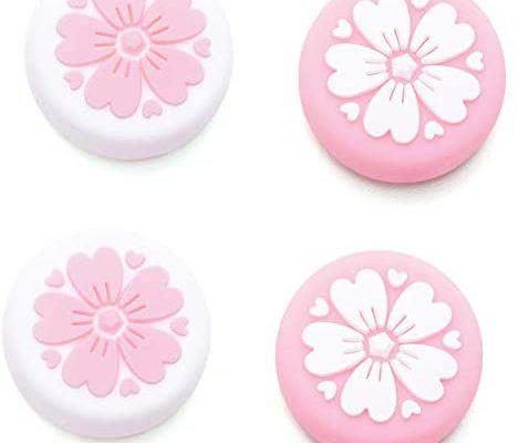 LightPro Sakura Capuchons pour manette Joy Con Joystick pour Nintendo Switch et Switch Lite Coque en silicone souple pour manette Joy-Con rose