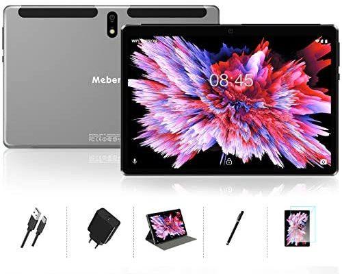 MEBERRY Tablette Tactile 10 Pouces Android 10.0 - avec Processeur à Octa-Core : 64Go, 4Go de RAM Tablette, GPS, WiFi, Bluetooth, Type-c - 5.0+8.0 MP Caméra - Corps en Métal Gris