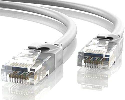 Mr. Tronic 15m Câble de Réseau Ethernet | CAT6, AWG24, CCA, UTP, RJ45 (15 Mètres, Gris)