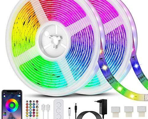 Ruban LED 20M(10m*2) Bande LED 5050 RGB 600 LEDs Bande Lumineuse Flexible Multicolore avec Télécommande à 40 Touches, Synchroniser avec la Musique, pour Fête Décor pour la Maison Chambre Bar