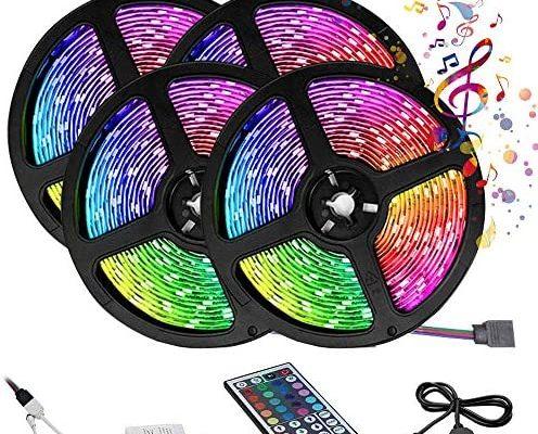 Ruban LED RGB 20M avec Télécommande à 44 Touches Synchroniser avec la Musique Contrôlé APP du Smartphone Bande LED Lumineuse pour Maison Décoration Cuisine Télévision Fête(20M Pas étanche)