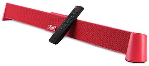 SIXGO Barre de son 2.1 canaux Bluetooth 4.2 avec caisson de basses stéréo pour TV (avec port optique AUX USB), home cinéma, téléphone portable, ordinateur portable, fête (31 pouces, rose rouge)