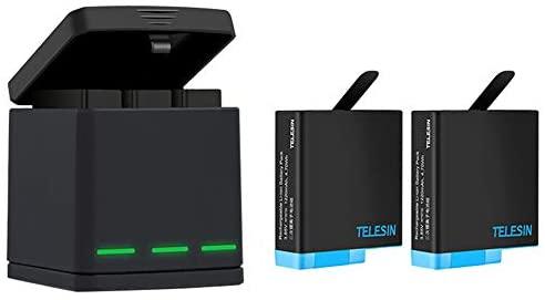 TELESIN Chargeur de Batterie Triple Set Chargeur + Batteries avec câble USB Type-C Kit d'accessoires pour GoPro Hero 6 / Hero 5 (Kit de Batterie de Chargeur 3 en 1)