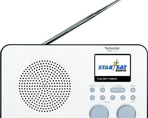 TechniSat Viola 2 C IR - Radio Internet Portable (Dab+, FM, WLAN, Ecran Couleur 2.4 Pouces, Prise Casque, Réveil, Minuterie de Sommeil, 3 Watt RMS, Batterie, Alimentation sur Secteur) Blanc/Noir