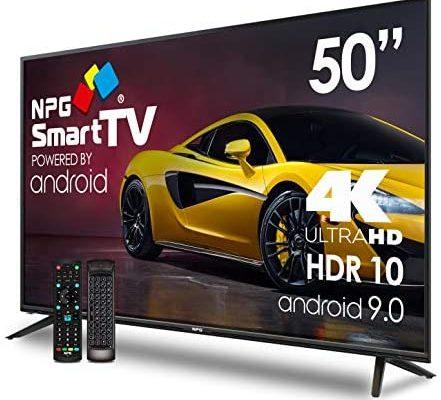"""Téléviseur LED 50"""" UHD 4K NPG Smart TV Android 9.0 + Smart Control QWERTY/Motion - HDR10 Dolby Digital Plus + WiFi Quad Core PVR DVB-T2/C"""