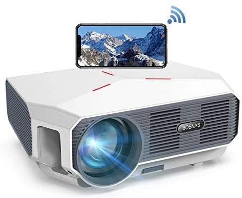 """Vidéoprojecteur WiFi, BOSNAS Mini Projecteur Portable 5800 Lumens Natif 720P, Supporté 1080P HD, 200"""" Rétroprojecteur LED Home Cinéma Compatible TV Stick PS4 Laptop Smartphones"""