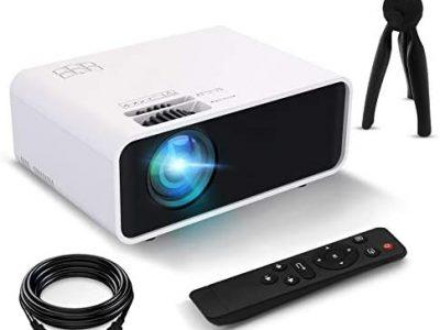 Mini projecteur, Funciil Vidéoprojecteur portable d'extérieur 4600 Lux, LED 55000 heures, Full HD 1080p et 200 pouces, compatible avec TV/PC/PS4 via HDMI, VGA, TF, AV et USB [Version 2021]