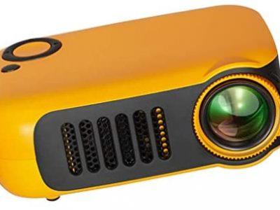 gazechimp Retroprojecteur, Videoprojecteur Portable LCD Soutien HD 1080p HDMI USB VGA AV SD,Projecteur de Cinéma Maison, Jaune