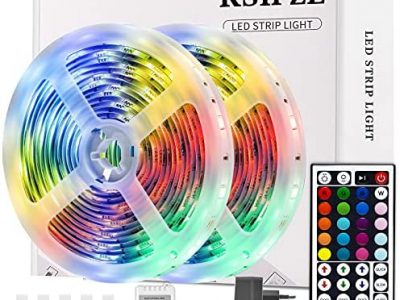 Ksipze Ruban Led 10M, Bande Led 300 Leds 5050 Rgb Guirlande Lumineuse Dimmable avec Télécommande, Ruban Auto-adhésif, Lumière Led Décorative Multicolore, Led Chambre, 2pcsX5m
