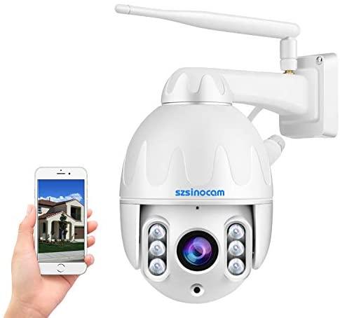 [All Metal] Caméra de Surveillance PTZ extérieure,Caméra Surveillance WiFi HD 1080P,Caméra IP à dôme pivotant,Zoom 8X,Détection Humanoïde de Mouvement,Alarme sonore et Lumineuse,Accès à Distance APP