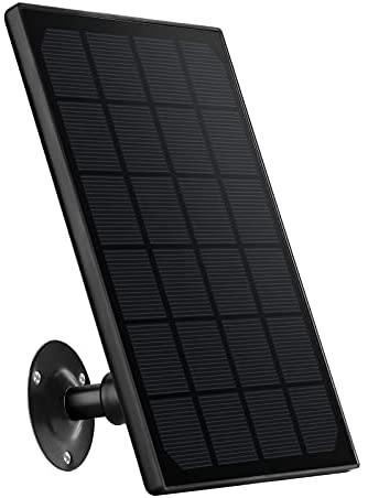 Zeetopin Panneau solaire pour caméras IP sans fil d'extérieur fonctionnant sur batterie, résistant aux intempéries, support réglable, alimentation sans interruption (câble de 3 m)