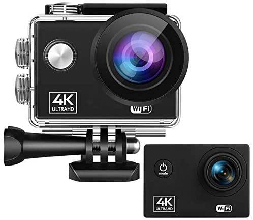 0℃ Outdoor Caméra Sport 4K/60FPS 24MP EIS Stabilisateur WiFi 2.0 IPS LCD 170° Grand Angle Télécommande Appareil Photo Étanche 30M avec Time-Lapse et Vidéo en Boucle pour la Natation et Le Camping