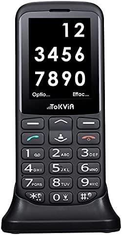 TOKVIA T111 Téléphone Portable Senior déverrouillé avec Grandes Touches, Basique Telephone Mobile pour Personne agée avec Touche d'assistance, écran Large de 2,4 Pouces